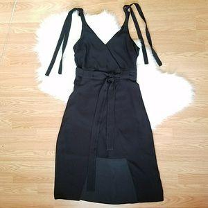 New RiverIsland Black Wrap Dress Tie Waist & Strap